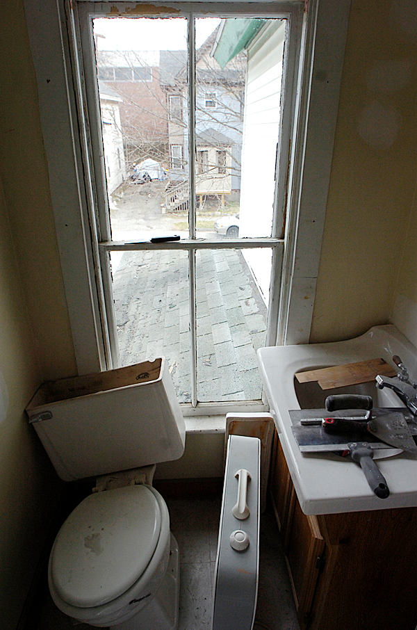 The upstairs bathroom at 13 Sanford Street in Bangor awaits renovation on Monday, April 5, 2010. The City of Bangor has received a grant of $1,084,873 from the Neighborhood Stabilization Program. The money is being used to purchase abondoned or foreclosed homes then renovate then and sell them. BANGOR DAILY NEWS PHOTO BY KEVIN BENNETT