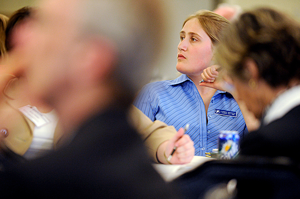 Summer Meredith, a student representative from the University of Maine at Machias, listened to fellow roundtable discussion participant during Tuesday's academic summit at Wells Conference Center at the University of Maine in Orono. The summit drew campus community from the University of Maine System to assess Maine's future workforce needs and academic program development. BANGOR DAILY NEWS PHOTO BY JOHN CLARKE RUSS