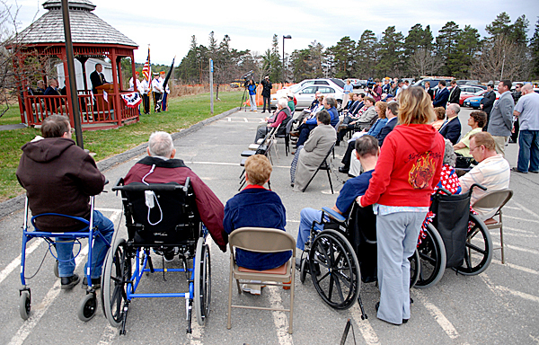 Maine Veterans Home residents joined other dignitaries for Tuesday's groundbreaking ceremony for the Bangor Community-Based Outpatient Clinic, which will be adjacent to the Maine Veterans Home off Hogan Road in Bangor. BANGOR DAILY NEWS PHOTO BY JOHN CLARKE RUSS