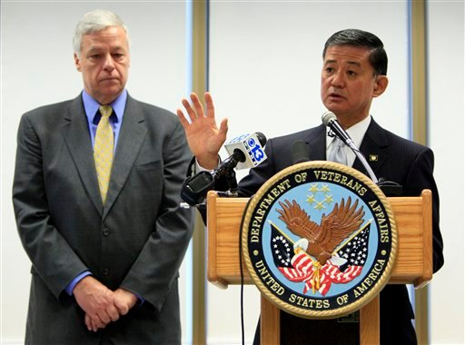 Veterans Affairs Secretary Eric Shinseki, right, speaks at news conference during a tour of the Togus Department of Veterans Affairs Medical Center in Augusta, Maine, Friday, April 9, 2010. Shinseki came at the invitation of U.S. Rep. Michael Michaud, D-Maine, left, the chairman of the House Veterans' Affairs Subcommittee on Health. (AP Photo/Robert F. Bukaty)