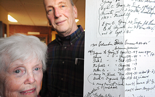 Bill Plaskon (top) and Rosalie Carver of the Jonesport Historical Society with a page from the geneological research that Leonard F. Tibbetts did over a 78-year period.  Tibbetts, who was born in Jonesport on May 25th 1912 and later moved away, became interested in the geneology of the area and tirelesly researched the ancestors of Jonesport-area families.  Shortly before he passed away in 2008, he donated some 30,000 pages of his research to the Jonesport Historical Society. BANGOR DAILY NEWS PHOTO BY GABOR DEGRE