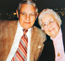 Leonard F. Tibbetts and his wife Ethel around 2000. (photo courtesy of the Jonesport Historical Society)