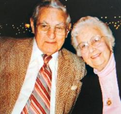 Leonard F. Tibbetts and his wife Ethel around 2000. (photo courtesy of the Jonesport Historical Society)