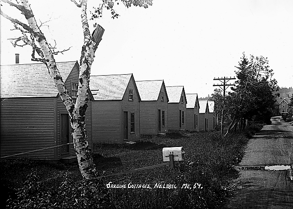 Photograph from the Eastern Illustrating collection from Lubec, ME circa 1920. You will notice that the Eastern images have titles on them. The &quotsardine houses&quot pictured were for the factory workers.  PHOTO COURTESY OF PENOBSCOT MARINE MUSEUM