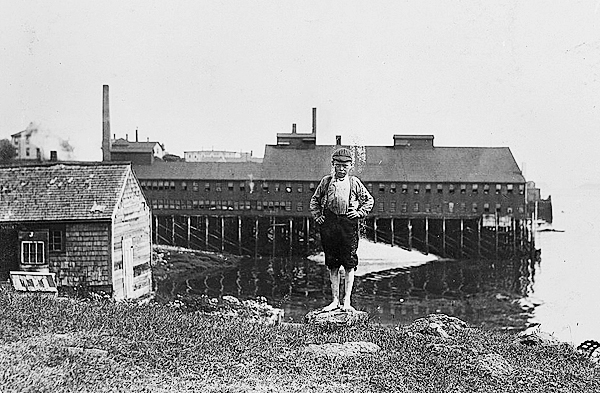 A boy poses in front of L. D. Clark's Fish Factory on Sea Street in Eastport in this undated image.  PHOTO COURTESY OF BORDER HISTORICAL SOCIETY