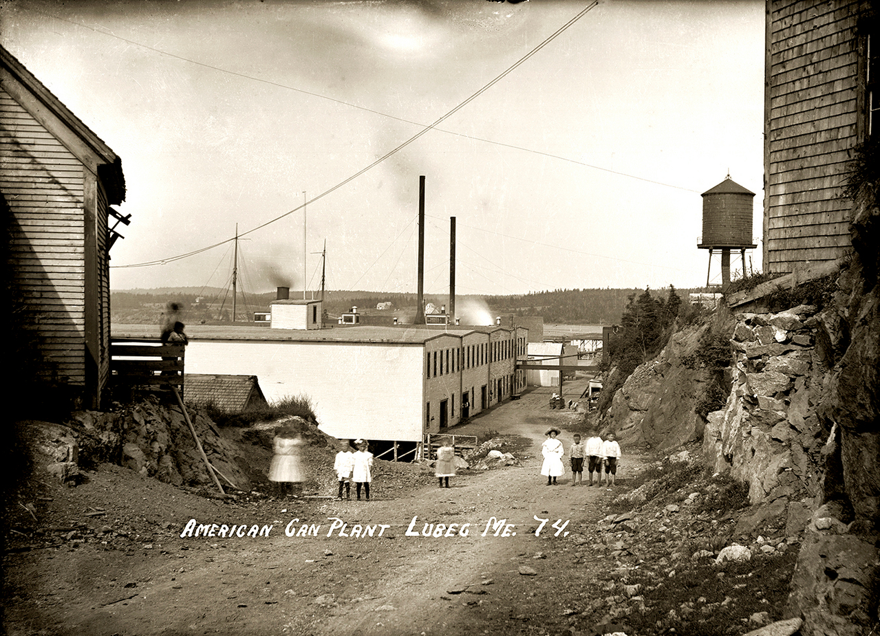 American Can plant in Lubec.  Photograph from the Eastern Illustrating collection from Lubec, ME circa 1920. You will notice that the Eastern images have titles on them. The &quotsardine houses&quot pictured were for the factory workers. (Photo courtesy of Penobscot Marine Museum)