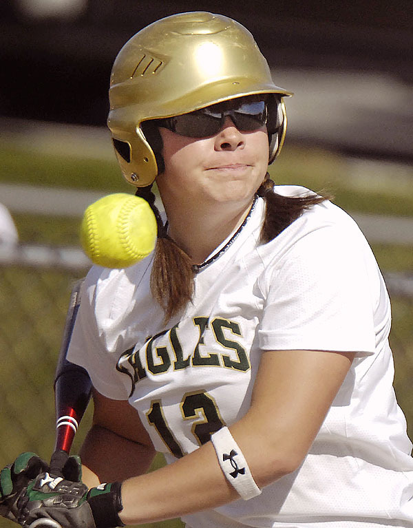 Husson's Megan Richard, (12), lets a pitch ride for a called ball during her at bat in the second inning of their game versus UMF in Bangor, Wednesday, April 14, 2010.