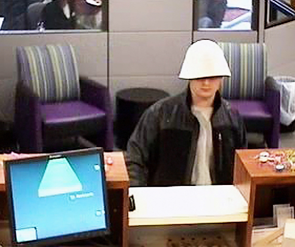 This image from a security camera at TD Bank in Newport shows the suspect in a robbery at the bank Wednesday. (PHOTO COURTESY OF MAINE STATE POLICE)