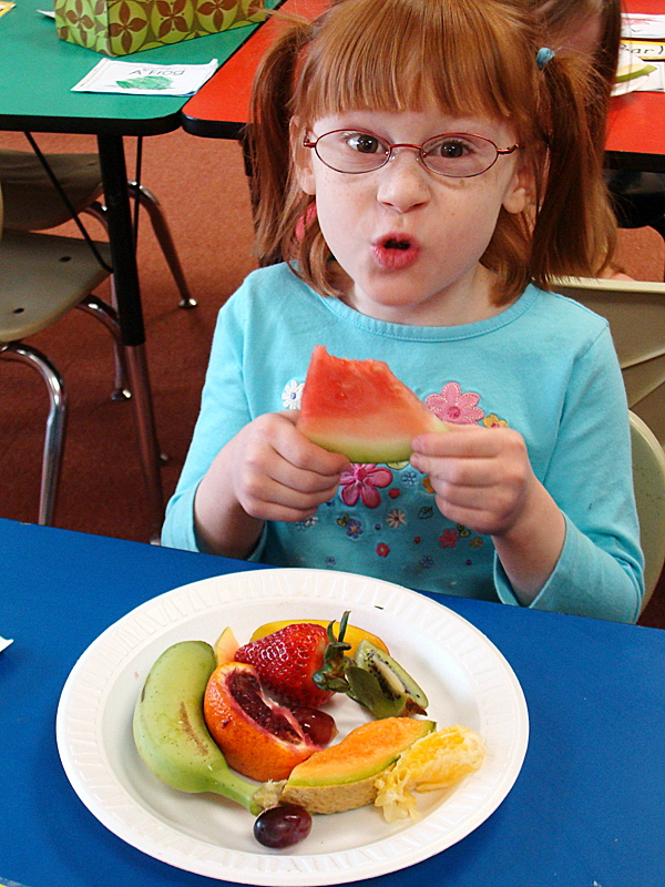 ''Wow,'' said Milo Elementary School pupil Ashlynn Bouley Friday as she bit into a piece of watermelon. All of the SAD 41 elementary pupils were treated by the local Masonic Lodges to an assortment of familiar and exotic fruit. BANGOR DAILY NEWS PHOTO BY DIANA BOWLEY
