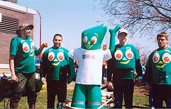Gumby and crew before the Kenduskeag Stream canoe race.  Undated photo: COURTESY OF DAN PELLETIER