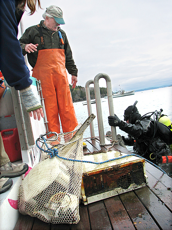 A computer and a mesh bag of other discarded items sit on the stern of Starfish Enterprise as Bar Harbor resident Joe Pagan climbs on board under the watchful eye of Sheldon Goldthwait, also of Bar Harbor. The items were among many things found Sunday on the harbor bottom during an annual harbor clean-up conducted by the League of Underwater Superheroes, a local scuba diving club. BANGOR DAILY NEWS PHOTO BY BILL TROTTER