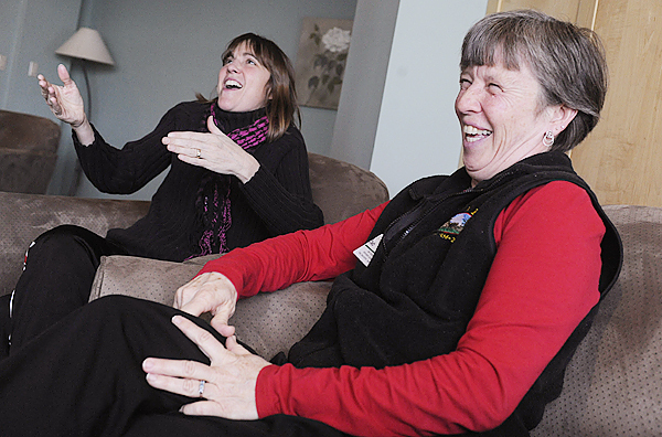 Jan Watson (left) of Surry and Deb Hubbard of Cherryfield find laughter is good medicine as they describe their special bond during a BDN interview Monday at Maine Coast Memorial Hospital in Ellsworth, where they work. Hubbard hopes to donate part of her liver to replace Watson's ailing liver. They are awaiting final approval for a procedure at Yale Medical Center and expect to make the trip to New Haven, Conn., in mid-March.  (BANGOR DAILY NEWS PHOTO BY JOHN CLARKE RUSS)  CAPTION  Jan Watson,R.N. left, of Surry and Deb Hubbard, right,  find laughter as good medicine as they describe their special bond during a BDN interview Monday, February 22, 2010 at Maine Coast Memorial Hospital in Ellsworth where they work. Hubbard hopes to donate part of her liver to replace Watson's ailing liver and they will travel  to New , Haven, CT in mid-March for a tentative procedure at Yale Medical Center. (Bangor Daily News, John Clarke Russ)