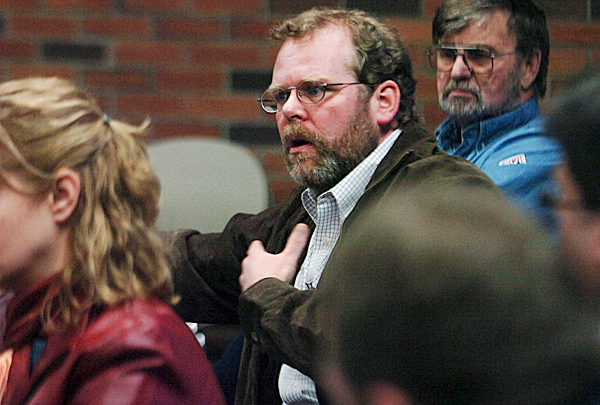 A resident of Fort Kent's East Main Street, Dave Soucy (above) expresses his concerns about remapping the town's flood plain during an open meeting with FEMA officials at the town office last week. While Soucy's home was damaged during the 2008 flood, he had questions about what remapping might mean to homeowners and businesses. &quotIt's so important for FEMA scientists to share their findings with us,&quot said Soucy, &quotWe need to know.&quot  BANGOR DAILY NEWS FILE PHOTO BY KATE COLLINS