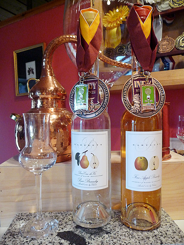 Bartlett's State of Maine Distillery's Apple American Brandy and Pear American Brandy are winning international awards for their quality. BANGOR DAILY NEWS PHOTO BY SHARON KILEY MACK