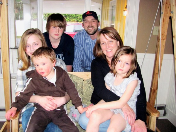The Bragg family of Newport will be among the participants in the eighth annual Walk for Autism Sunday in Bangor, which will benefit autistic people like four-year-old Josh, second from left. Pictured from left are Jenna, Josh, Jake, Jeremy, Debbie and Jules Bragg. They all play a part in maintaining a safe, nurturing environment for the family's youngest member.  BANGOR DAILY NEWS PHOTO BY CHRISTOPHER COUSINS