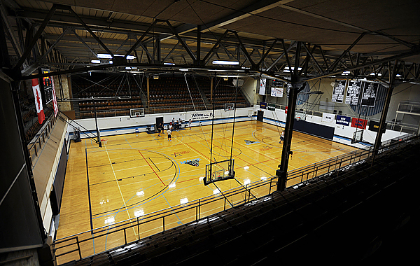 The basketball court at the University of Maine's Memorial Gym as seen on Thursday, April 22, 2010. The court is also known as &quotThe Pit&quot because of its design. BANGOR DAILY NEWS PHOTO BY KEVIN BENNETT