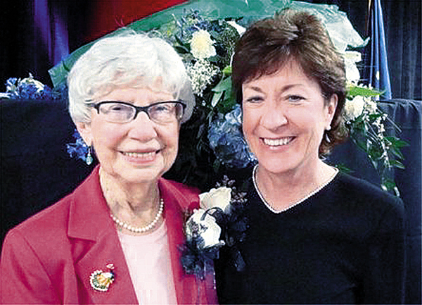 The Public Sector Service Award, presented by the Bangor REgion Chamber of Commerce on Jan. 16 to U.S. Sen. Susan Collins (right), was renamed the Catherine Lebowitz Award for Public Service. The new name honors Kay Lebowitz (left), volunteer and former city councilor and state representative.