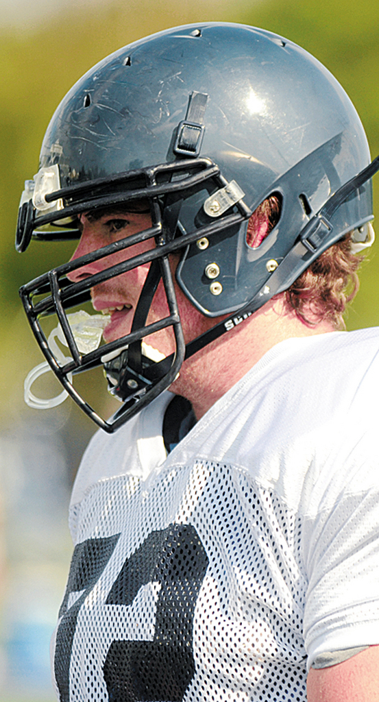 Senior Tyler Eastman of Old Town, a 6-foot6, 321-pound left tackle, is a key cog for the U niversity of Maine, which opens its season Thursday night.  (BANGOR DAILY NEWS PHOTO BY GABOR DEGRE)CAPTIONUniversity of Maine Black Bears offensive tackle Tyler Eastman (Bangor Daily news/Gabor Degre)