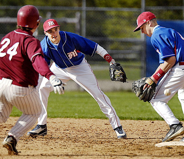 Messalonskee's second baseman S. Dexter, (1), can't handle the toss from teammate shortstop D. Foster, (3), allowing Bangor's Devin Lyshon, (24), to reach base safely in the second inning of their game in Bangor, Thursday, April 29, 2010. BANGOR DAILY NEWS PHOTO BY MICHAEL C. YORK