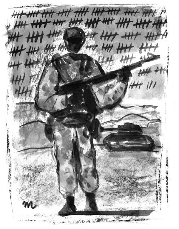 This artwork by Mark Weber relates to soldiers in Iraq counting the days until they can come home.
