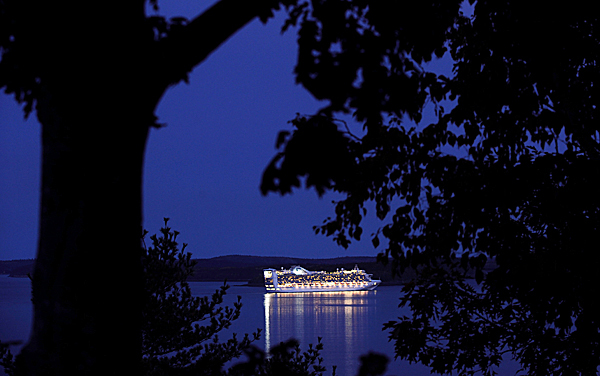 A cruise ship sails out of Bar Harbor on the evening of October 15 2008.  BANGOR DAILY NEWS PHOTO BY GABOR DEGRE
