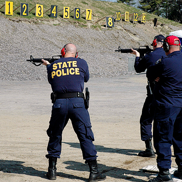 Maine?s Troopers are being trained and issued new assault weapons.  Initiated by a bill from State Representative Paulette Beaudoin of Biddeford, 105 AR-15 assault rifles have been recently purchased and are being distributed to every trooper on regular patrol. The rifles were manufactured in Maine by Bushmaster at their Windham plant and cost $76,191.   Before being assigned the new weapon, troopers are completing five hours of training and instruction with the new gun which include firing over 300 rounds.  The Chief of the State Police, Colonel Patrick Fleming said the new weapon is more user-friendly and has more firepower than the Ruger carbine rifle that it is replacing. The carbines will be retained by the State Police and issued to detectives and other members of the department who do not patrol on a regular basis. The distribution of the new guns should be completed by mid-June.  PHOTO COURTESY OF MAINE DEPT OF PUBLIC SAFETY