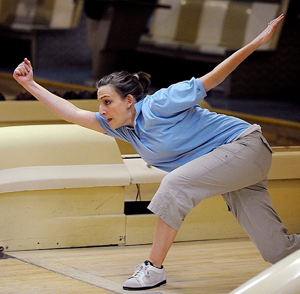 Amanda Carroll of Gray bowls during the State Candlepin championship at Bangor-Brewer Lanes in Brewer Sunday. BANGOR DAILY NEWS PHOTO BY GABOR DEGRE