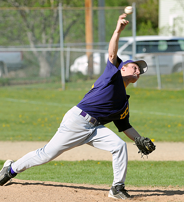 Bucksport High School's Tyler French delivers a pitch during the game against Hermon High School in Bucksport Saturday afternoon.  Bucksport won the game 4-3.   BANGOR DAILY NEWS PHOTO BY GABOR DEGRE