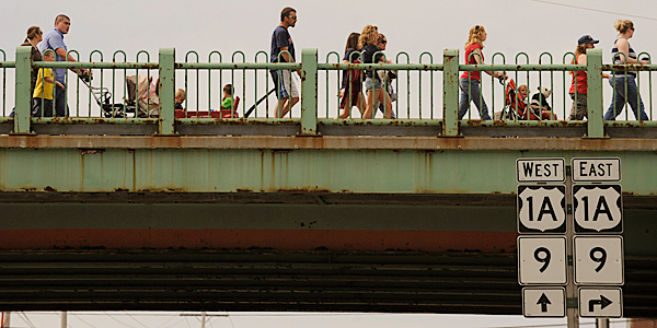 Participants, many of them young families, made their way across the Joshua Chamberlain Bridge to Bangor as they participated in Sunday morning's Brewer/Bangor March of Dimes annual March for Babies. This fundraiser honors babies born healthy and ones that need extra help to survive and become healthy. BANGOR DAILY NEWS PHOTO BY JOHN CLARKE RUSS