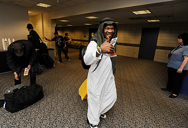 American rapper and TV personality XZIBIT gives his thumbs up as he makes his way through Bangor International Airport Tuesday afternoon after taking a trans-Atlantic flight with other Gumball 3000 participants. BANGOR DAILY NEWS PHOTO BY JOHN CLARKE RUSS