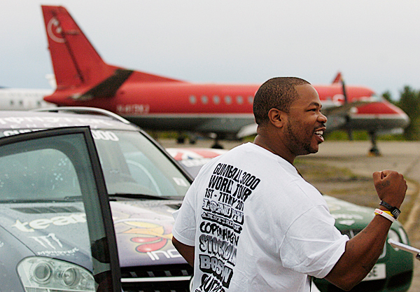 American rapper and TV personality XZIBIT doesn't seem to show any jetlag as he talks with the media Tuesday on BIA's tarmac after taking a trans-Atlantic flight with other Gumball 3000 participants. BANGOR DAILY NEWS PHOTO BY JOHN CLARKE RUSS
