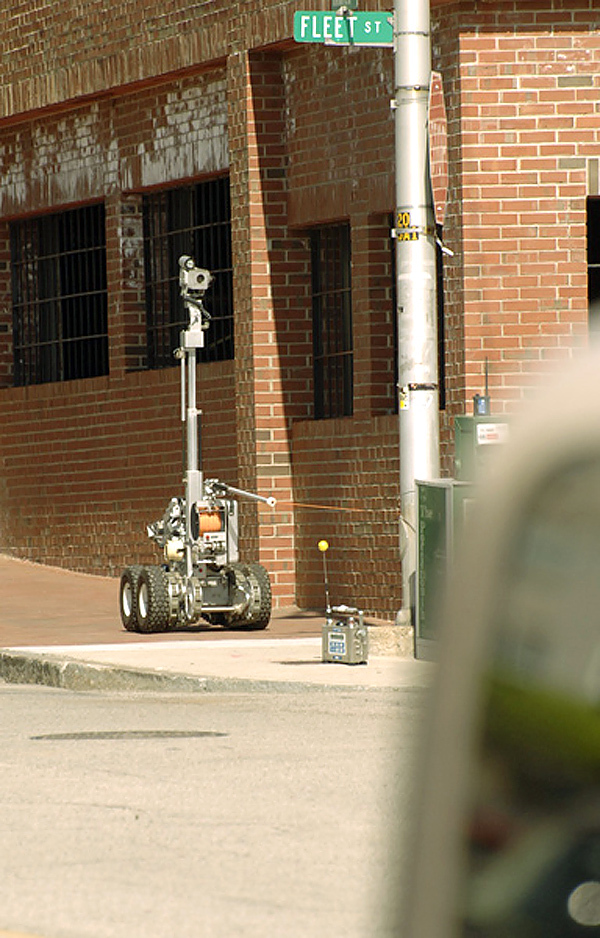 Robot being used by police at the scene of the Greyhound bomb threat in Portsmouth, New Hampshire Thursday, May 6, 2010.  (Photo by Lorenzo Vigil)