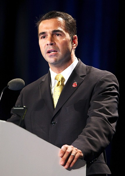 Dean Scontras, congressional candidate for Maine's 1st district, speaks Friday, May 7, 2010, at the opening day of the Maine Republican State Convention in Portland, Maine. Scontras is challenging incumbent Rep. Chellie Pingree. AP PHOTO BY JOEL PAGE