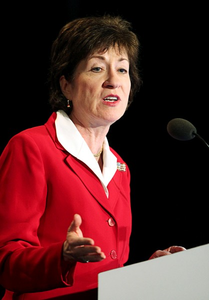 ** CORRECTS COLLINS' AFFILIATION TO REPUBLICAN ** Sen. Susan Collins, R-Maine, speaks Friday, May 7, 2010, at the opening day of the Maine Republican State Convention in Portland, Maine. AP PHOTO BY JOEL PAGE