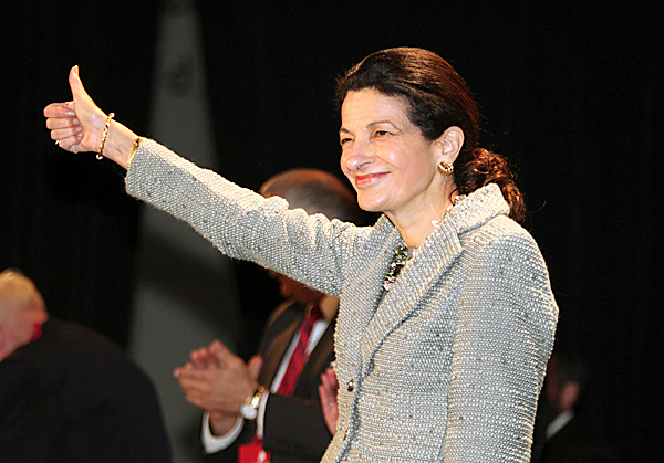 Sen. Olympia Snowe, R-Maine, gestures after speaking Friday, May 7, 2010, at the opening day of the Maine Republican State Convention in Portland, Maine. AP PHOTO BY JOEL PAGE