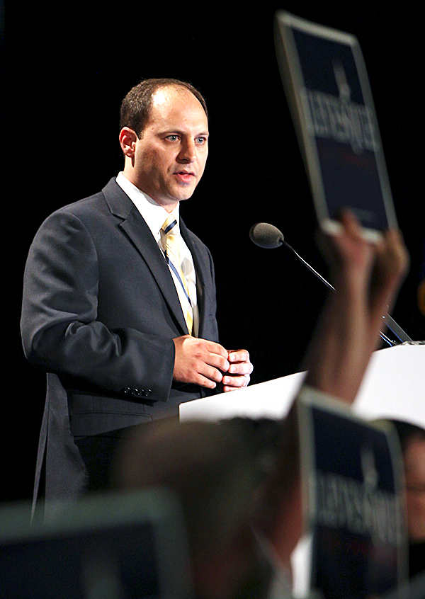 Jason Levesque, congressional candidate for Maine's 2nd district, speaks Friday, May 7, 2010, at the opening day of the Maine Republican State Convention in Portland, Maine. Levesque is challenging incumbent Rep. Mike Michaud. AP PHOTO BY JOEL PAGE