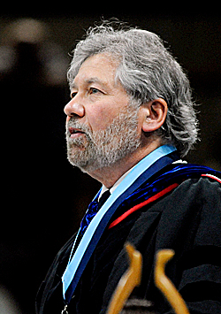 Professor Paul Mayewski speaks during the University of Maine class of 2010 commencement ceremony at the Alfond Arena in Orono Saturday.   (Bangor Daily News/Gabor Degre)