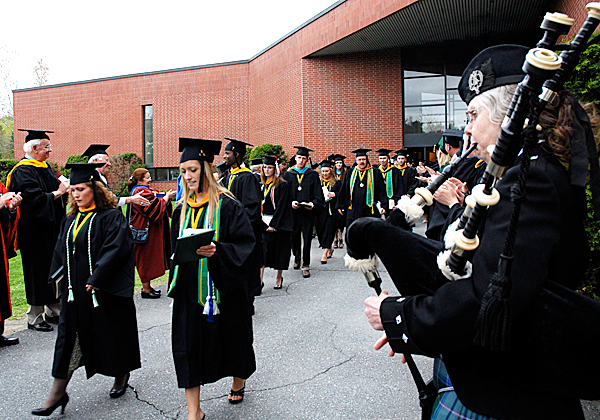 Members of the University of Maine at Fort Kent Class of 2010 are piped out following the campus' commencement exercises Saturday in Fort Kent.  JULIA BAYLY PHOTO