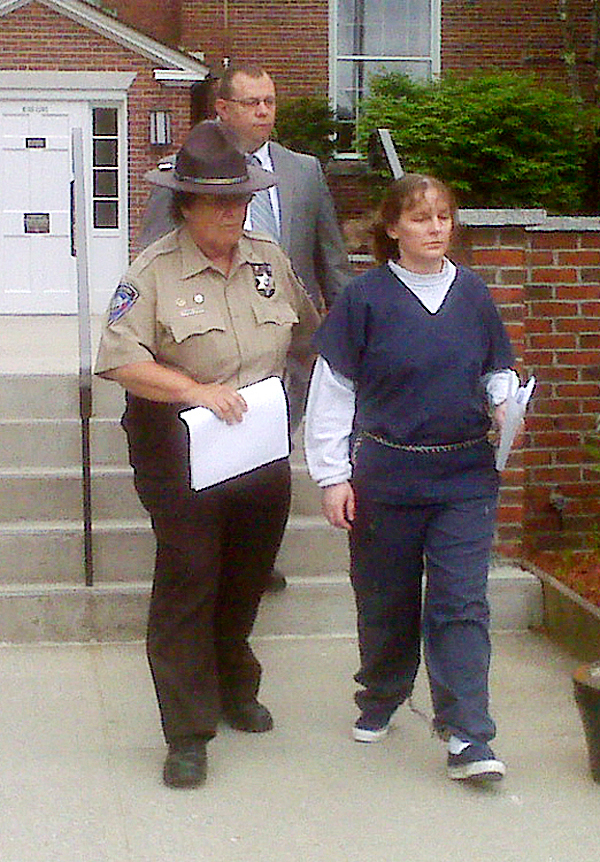 Corina Durkee leaves Lincoln County Superior Court Monday after the sentencing trial for last spring's stabbing murder of one Waldoboro woman and the attempted murder of another. Durkee, whom the state said was an accomplice, was sentenced to 15 years. Earl &quotBuddy&quot Bieler received a 55 year sentence for the murder of Rachel Grindal - and concurrent sentences totalling 84 years for aggravated attempted murder, elevated aggravated assault, burglary and theft. BANGOR DAILY NEWS PHOTO BY ABIGAIL CURTIS