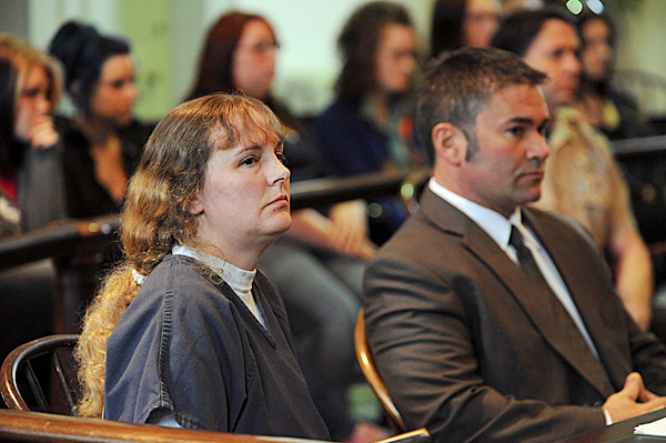 Corina Durkee sits in Lincoln County Sperior Court on Monday, May 10, 2010 with her attorney Philip Cohen. Durkee was given 15 years for her role in the April 19, 2010 killing of Rachel Grindal and the slashing of Tracey Neild. BNAGOR DAILY NEWS PHOTO BY KEVIN BENNETT