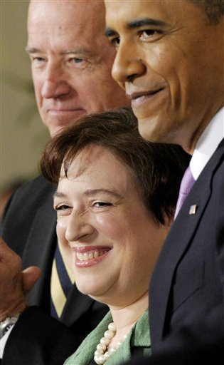 Solicitor General Elena Kagan stands with President Barack Obama and Vice President Joe Biden as she is introduced as Obama's nominee for the Supreme Court during an announcement in the East Room of the White House in Washington, Monday, May 10, 2010. (AP Photo/Susan Walsh)