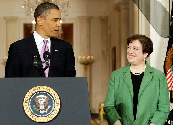 ** Alternate Crop ** President Barack Obama introduces Solicitor General Elena Kagan as his choice for Supreme Court Justice in the East Room of the White House in Washington, Monday May 10, 2010 as Vice President Joe Biden applauds. (AP Photo/J. Scott Applewhite)