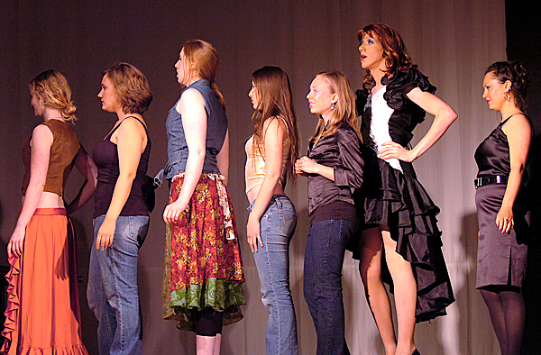 College of the Atlantic senior Dan Mahler (second from right) plays Fantasia Fabulous in a dress rehearsal Tuesday, May 11, 2010 of  &quotFacades&quot, a play he wrote, directed and stars in at the school's Gates Community Center in Bar Harbor. Performances of the play are Saturday at 7:30 p.m. and Sunday at 6 p.m. (Bangor Daily News/Bridget Brown)