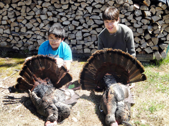 Brothers, Lucas Beauchamp, 11 (LEFT) and Eli Beauchamp, 13 on their first Youth Turkey Day 2010.  Both brothers bagged 26 lb. tom turkeys, 5 hours apart, each with their first shot.  PHOTO COURTESY OF LUANNA BEAUCHAMP