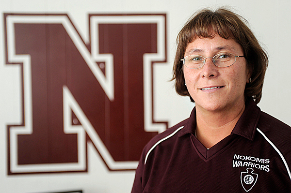 Nokomis Regional High School principal Mary Nadeau talked with the BDN about the school Native American mascot icon and &quotwarrior&quot nickname. &quotWe want to be respectful and dignified without having caricatures or undignified acts &quot says the school's principal Mary Nadeau of the school's Native American icon and &quotwarrior'' nickname. &quotThis can provide a good teaching opportunity, &quot she added. Photographed at the school Friday, May 14, 2010. BANGOR DAILY NEWS PHOTO BY JOHN CLARKE RUSS