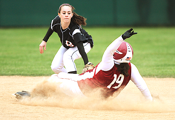 Brewer's Lindsay Houp puts a tag on Bangor's Hannah Lust during first inning action at Brewer on Friday, May 14, 2010. Lust was out.  BANGOR DAILY NEWS PHOTO BY KEVIN BENNETT(Bangor Daily News/Kevin Bennett)