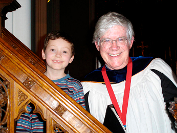 Fred Jones with James Ross Marks (age 6) from The Annual Choir School, August 2004 at St. John's Episcopal Church, Bangor.  PHOTO COURTESY OF NANCY SOULE MARKS