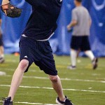 Maine senior lefty Barry Keiffer throws some pitches during practice inside the Mahaney Dome at the University of Maine in Orono on Wednesday, May 19, 2010. BANGOR DAILY NEWS PHOTO BY BRIDGET BROWN