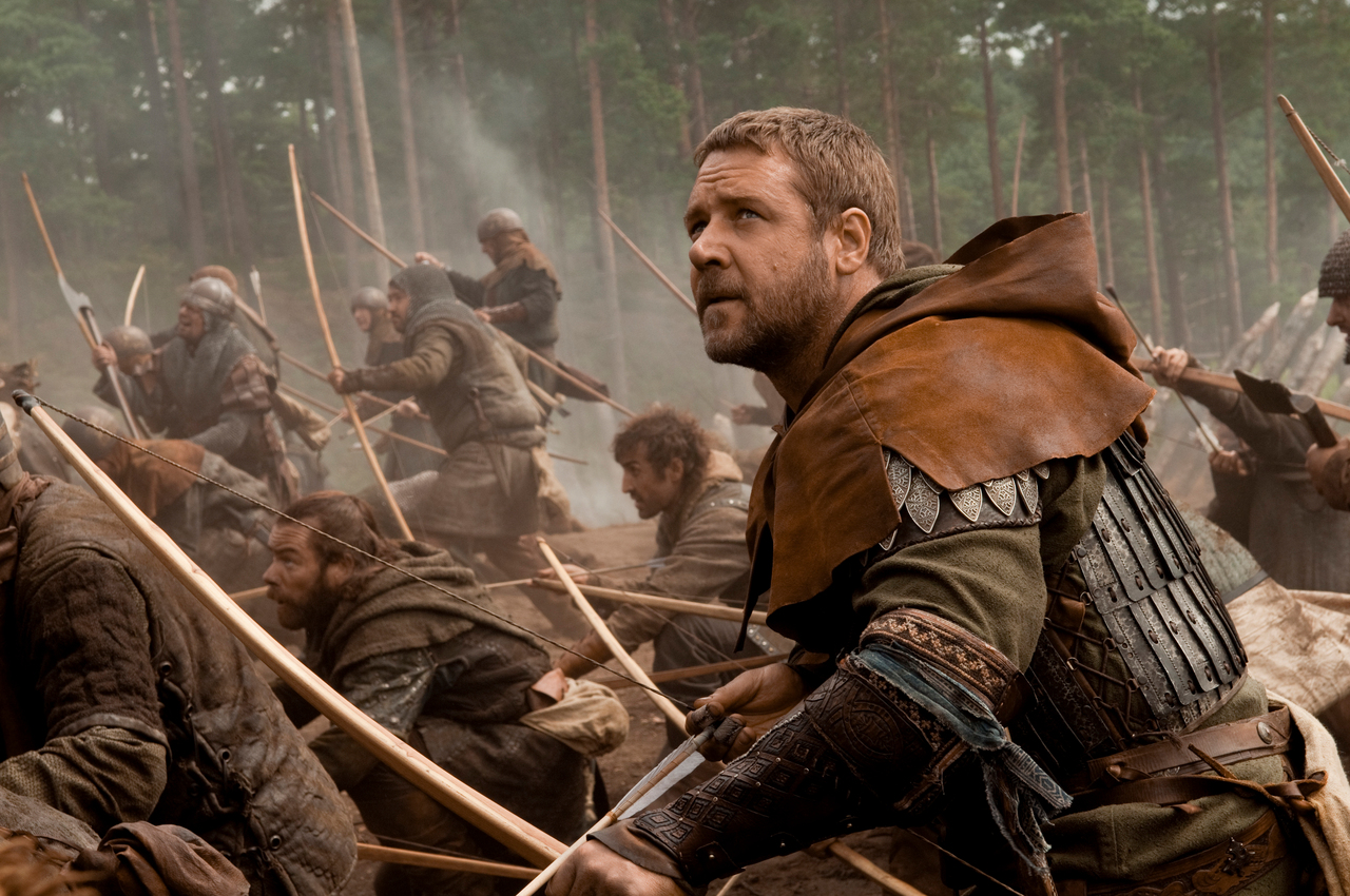 In this film publicity image released by Universal Pictures, Russell Crowe is shown in a scene from &quotRobin Hood.&quot (AP Photo/Universal Pictures,   David Appleby)