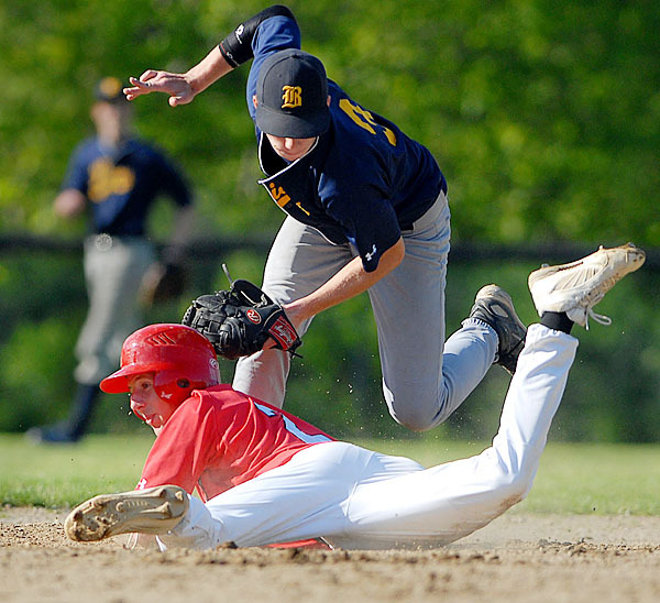 BELFAST, ME -- MAY 20, 2010 -- Camden Hill's Joel Gabriele gets picked off by Belfast's second baseman Eric Peters in the forth inning of Thursdays game. Camden Hills won 3-1.